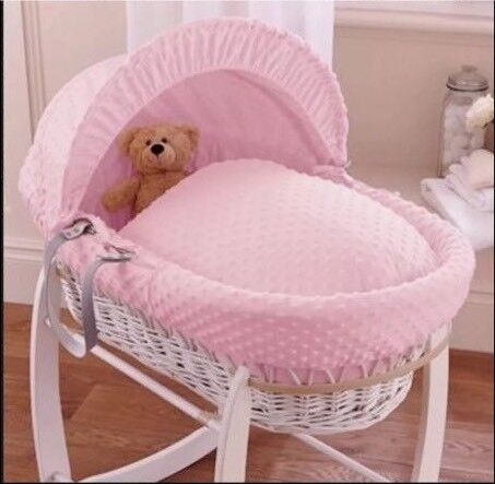 NEW CLAIR DE LUNE PINK DIMPLE PADDED WHITE WICKER BABY MOSES BASKET /& STAND