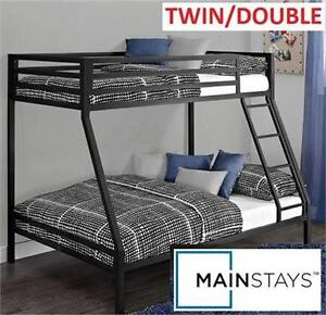 NEW MAINSTAYS TWIN/DOUBLE BUNK BED TWIN OVER FULL METAL BLACK BUNK BED FURNITURE BEDROOM 80241196