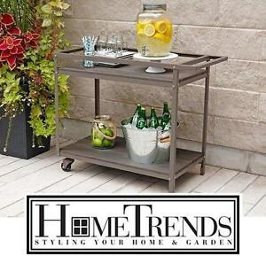 NEW HOMETRENDS SEDGWICK BAR CART - 110940774 - POWDER OUTDOOR COATING - STEEL FRAME - PATIO DECOR OUTDOOR LIVING