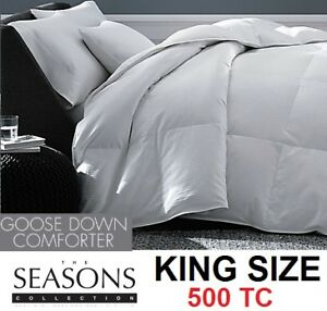 NEW THE SEASONS KING WHITE GOOSE DOWN 500 THREAD COUNT COMFORTER