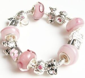 Pink Child/Kid Crown European Style Charm Bead Bracelet