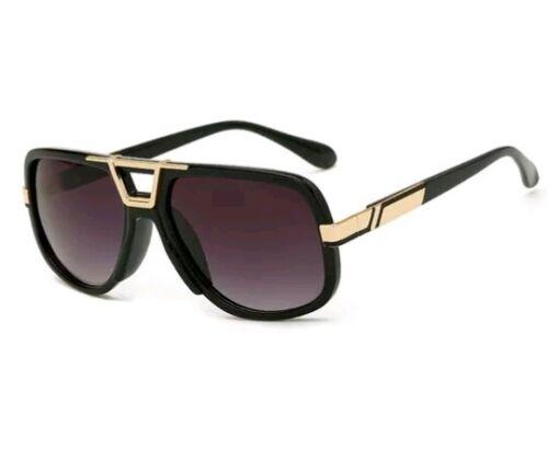 Sonnenbrille Herren Vintage Retro Hiphop Designer Luxus Pilot schwarz gold 2019