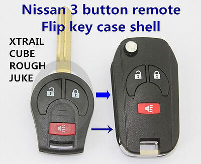 Nissan 3 buttons remote Flip key case shell for XTRAIL CUBE ROUGH JUKE