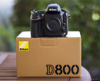 Like new in box; Nikon D800 with only 12000 shots , receipt