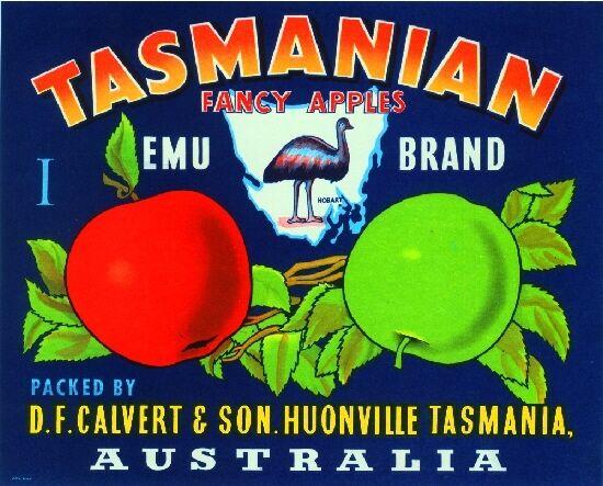 Hobart Tasmania Australia Emu Apple Fruit Crate Label Art Print