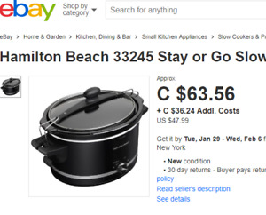 Hamilton Beach Slow Cooker - New in Box (YOU SAVE $50)
