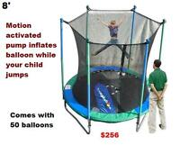 New 8ft Trampoline & Enclosure With Electronic Balloon Game