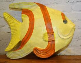 Large papier mache vintage fish mancave fun antique bathroom decor sea prop sign