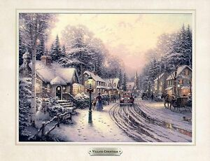 Thomas Kinkade Village Christmas Picture Print FREE SHIP Kincade Kincaid Kinkaid