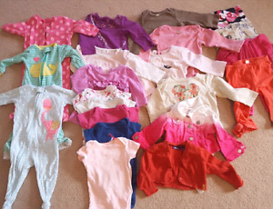 21 piece lot baby girls clothing, sizes 6/9 mths