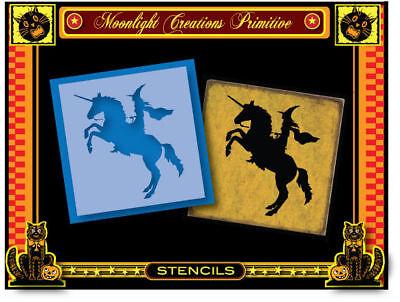 Halloween Stencil~UNICORN WITCH~Midnight Scary Ride Classic in the - Halloween Stencils Scary