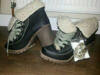 Ladies size 4 boots, shoes and wedge sandals for sale
