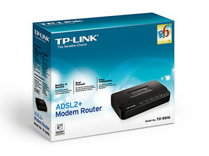 ADSL2+ modem router 1 port TP-LINK TD-8816 new, in box, invoice