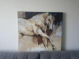 Canvas Horse Print in Beige, Dark Brown and hints of light blue