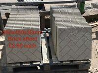 450x450mm brick style concrete paving slabs