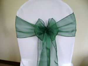 FOR SALE HUNTER GREEN ORGANZA TABLE RUNNERS & CHAIR SASHES