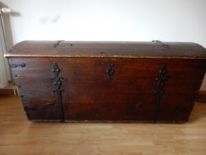 French Antique Trunk Wood Genuine