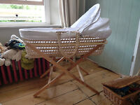 Moses basket, linen and stand. John Lewis