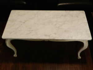 French Table Marble Wood White