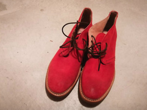 Men's suede red leather shoes, brand new