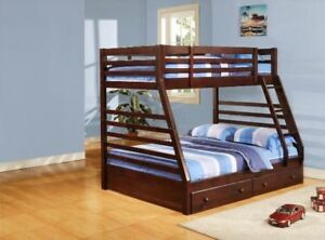twin over twin bunk bed in a brown cherry finish