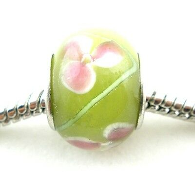 Lime & Pink Floral Lampwork Glass 14mm Large 5mm Hole European Charm Beads 2 pc