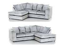 New Chicago Crushed Velvet Left and Right Hand Facing 2+3 Seater Corner Sofa Set
