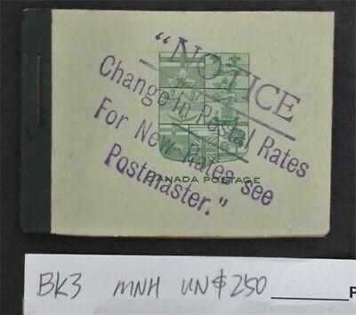 nystamps Canada Stamp # BK3 Mint OG NH UN$250   L16y3148