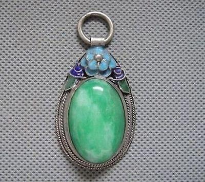Rare Antique Chinese Silver  Enamel Mosaic jade Pendant &1
