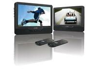 """9"""" Inch Twin Screen Portable Dual DVD Player, Rechargable, Car, Remote,£65 or 7"""" £50 boxed"""
