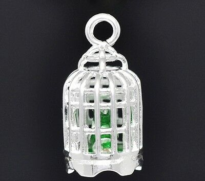 3D Bird Cage with 3D Bird Silver Plated 23mm Traditional Charm 1pc