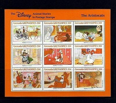 GRENADA - 1987 - DISNEY - THE ARISTOCATS - ANIMAL STORIES - MINT - SHEET