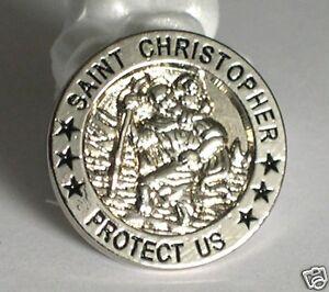 St Christopher Protect Us pin / lapel badge biker car racer traveller