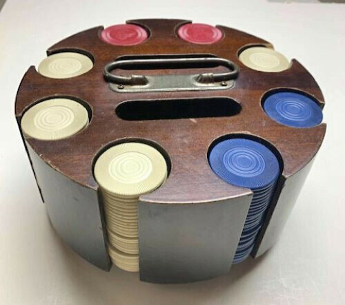 ANTIQUE ROUND POKER CHIP CADDY WITH CHIPS - GREAT PRICE