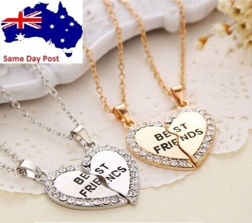 Jewellery - Best Friend Gift Heart Rhinestone Gold Silver 2 Pendants Necklace Bff Friendship