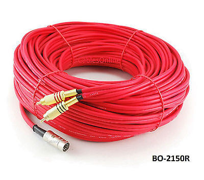 150ft 5-Pin DIN to 2-RCA Red Audio Cable, CablesOnline BO-2150R