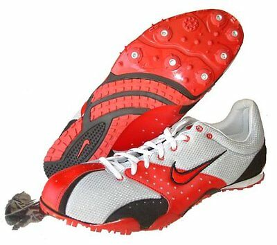 NIKE Track & Field~ZOOM RIVAL MD~Silver/Red ~Running Shoes~Size Men's 15