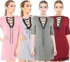 Unbranded Lace Up T-Shirts Dresses for Women