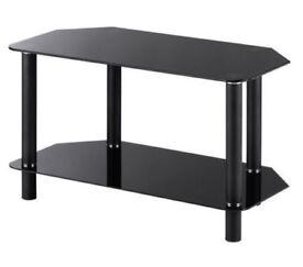 TV Stand (Black, Glass, 2 shelves)