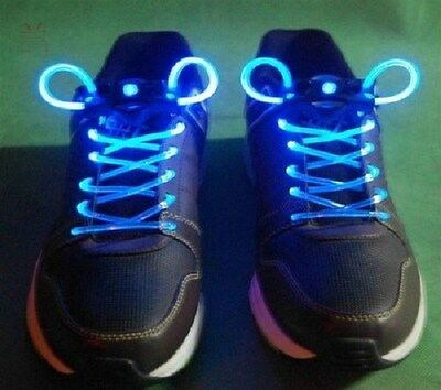 NEW Pair of LED Light Up Shoelaces Flash Mode Blue Green Red Pink FLASHING/Solid