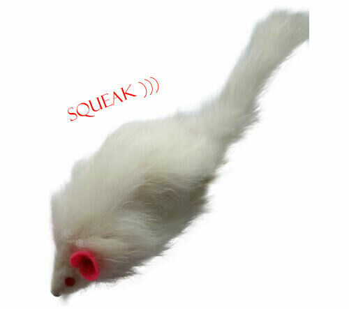 Rabbit Fur Mouse Cat Toy with Squeak Sound - White