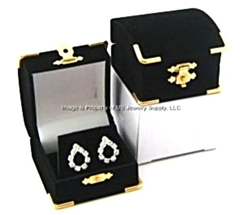 6 Black Velvet & Brass Accent Earring Jewelry Display Presentation Gift Boxes