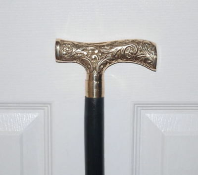 Antique Solid Silver Brass Derby Design Handle Solid Cane Walking Stick Gift