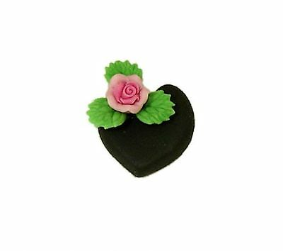Handcrafted Valentine Chocolate Heart Cake With Flower 1 12 Dollhouse Miniature
