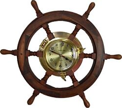 Solid Wood Ship Wheel with Brass Clock Shaped Nautical Brown Captain Sea Ocean