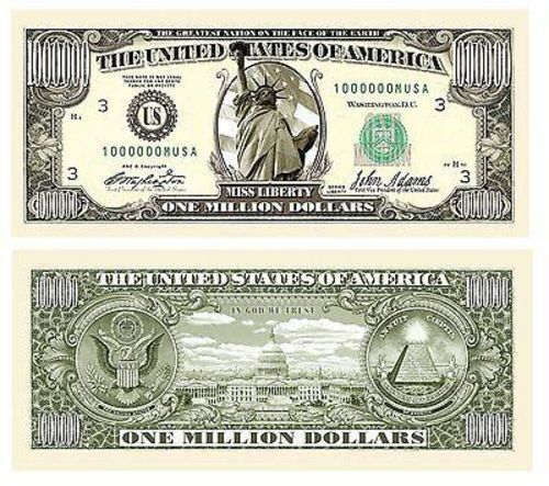 1 Million Dollar Bill Movie Prop Fake Money Novelty Traditional Liberty 25 Lot