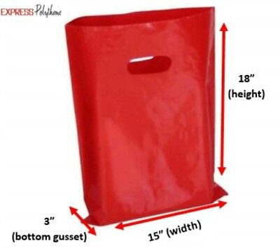 RED PLASTIC BUDGET SHOPPING CARRIER BAGS 15