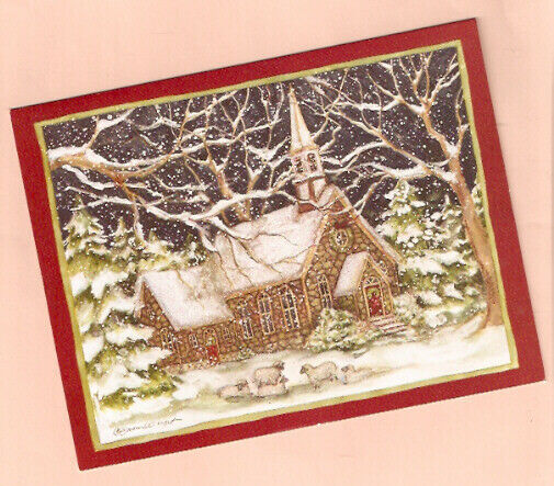 Sheep Lamb Stone Church Snow Glittery Christmas Cards Box of 18 by Lang