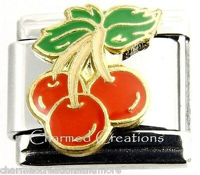 Red Cherries Cherry Fruit Bunch 9mm Italian Charm Stainless Steel Modular Link ()