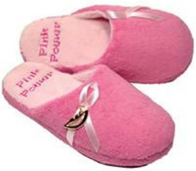 Ladies Pink Ribbon Courage Slip On Slippers Ladies Sz NEW Survivor by -